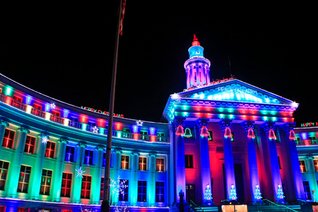 denver city and county building: Denver City and County Building illuminated at night, Colorado. Denver is the most populous city in Colorado.