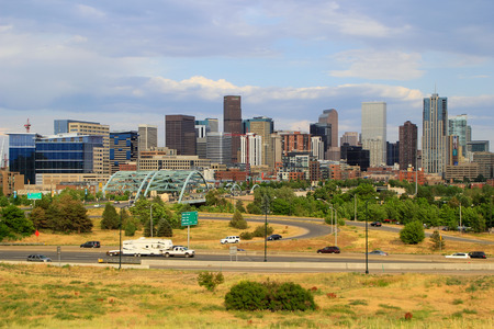 scape: Skyline of Denver in Colorado, USA.  Denver is the most populous city in Colorado. Editorial