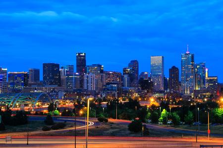colorado city: Skyline of Denver at night in Colorado, USA.  Denver is the most populous city in Colorado. Editorial