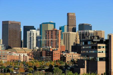 Skyline of Denver in Colorado, USA.  Denver is the most populous city in Colorado. Editorial