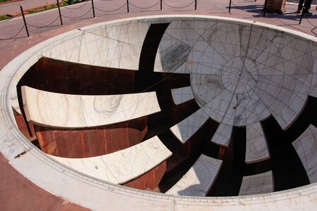 rajput: Sundial at Astronomical Observatory Jantar Mantar in Jaipur, India.  It is a collection of 19 instruments, built by the Rajput king Sawai Jai Singh.