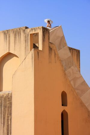 rajput: Detail of largest sundial with a person for scale, Jantar Mantar in Jaipur, India.  It is a collection of 19 instruments, built by the Rajput king Sawai Jai Singh.