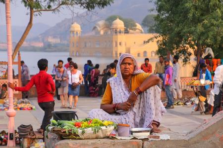 sagar: Indian woman selling vegetables at Man Sagar Lake in Jaipur, Rajasthan, India. Editorial