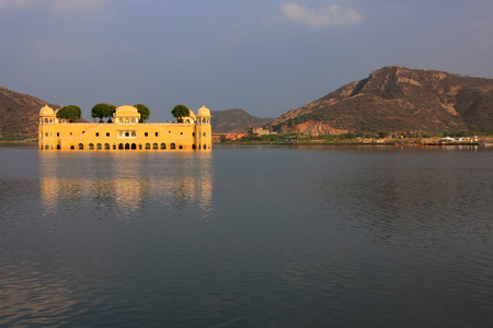 rajput: Jal Mahal and Man Sagar Lake in Jaipur, Rajasthan, India. Jal Mahal was built in the Rajput and Mughal styles.