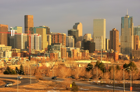 capital of colorado: Skyline of Denver in Colorado, USA.  Denver is the most populous city in Colorado. Stock Photo
