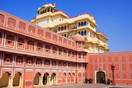 rajput: Chandra Mahal in Jaipur City Palace, Rajasthan, India. Palace was the seat of the Maharaja of Jaipur, the head of the Kachwaha Rajput clan.