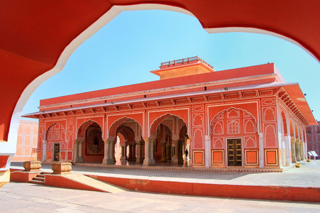 rajput: Diwan-i-Khas - Hall of Private Audience in Jaipur City Palace, Rajasthan, India. Palace was the seat of the Maharaja of Jaipur, the head of the Kachwaha Rajput clan. Editorial