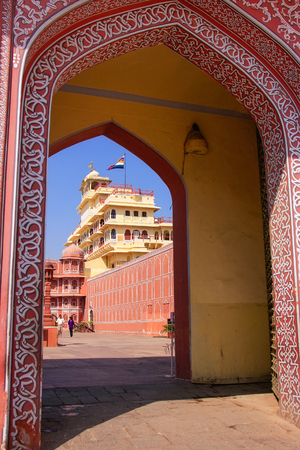 maharaja: Gate to Chandra Mahal in Jaipur City Palace, Rajasthan, India. Palace was the seat of the Maharaja of Jaipur, the head of the Kachwaha Rajput clan.