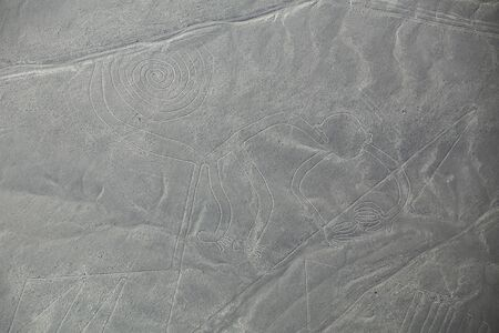 designated: Aerial view of Nazca Lines - Monkey geoglyph, Peru. The Lines were designated as a UNESCO World Heritage Site in 1994. Stock Photo