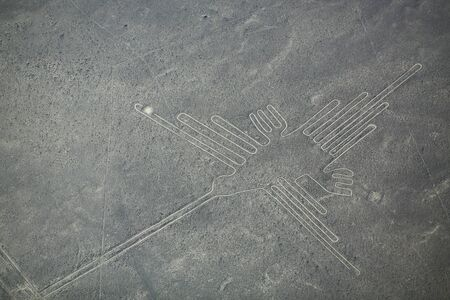designated: Aerial view of Nazca Lines - Hummingbird geoglyph, Peru. The Lines were designated as a UNESCO World Heritage Site in 1994.