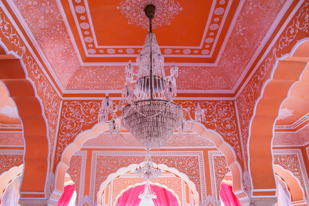 rajput: Chandelier at Diwan-i-Khas - Hall of Private Audience in Jaipur City Palace, Rajasthan, India. Palace was the seat of the Maharaja of Jaipur, the head of the Kachwaha Rajput clan.