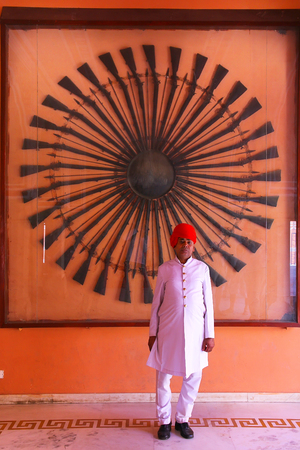 rajput: Guard standing at Diwan-i-Khas - Hall of Private Audience in Jaipur City Palace, Rajasthan, India. Palace was the seat of the Maharaja of Jaipur, the head of the Kachwaha Rajput clan. Editorial