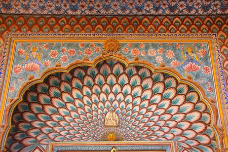 maharaja: Close up of Lotus Gate in Pitam Niwas Chowk, Jaipur City Palace, Rajasthan, India. Palace was the seat of the Maharaja of Jaipur, the head of the Kachwaha Rajput clan.