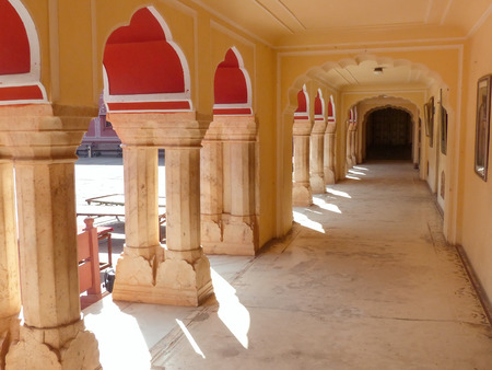 maharaja: Gallery at Chandra Mahal in Jaipur City Palace, Rajasthan, India. Palace was the seat of the Maharaja of Jaipur, the head of the Kachwaha Rajput clan.