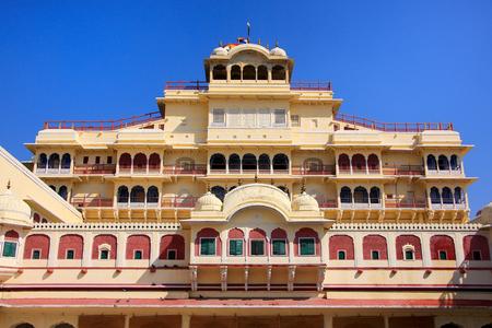 jaipur: Chandra Mahal seen from Pitam Niwas Chowk, Jaipur City Palace, Rajasthan, India. Palace was the seat of the Maharaja of Jaipur, the head of the Kachwaha Rajput clan.