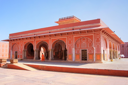 Diwan-i-Khas - Hall of Private Audience in Jaipur City Palace, Rajasthan, India. Palace was the seat of the Maharaja of Jaipur, the head of the Kachwaha Rajput clan. Editorial