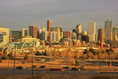 city of denver: Skyline of Denver in Colorado, USA.  Denver is the most populous city in Colorado. Stock Photo