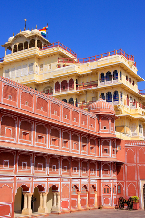 jaipur: Chandra Mahal in Jaipur City Palace, Rajasthan, India. Palace was the seat of the Maharaja of Jaipur, the head of the Kachwaha Rajput clan.