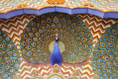 rajput: Close up of Peacock Gate in Pitam Niwas Chowk, Jaipur City Palace, Rajasthan, India. Palace was the seat of the Maharaja of Jaipur, the head of the Kachwaha Rajput clan.