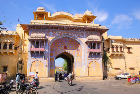 rajput: Gate to Jaipur City Palace in Rajasthan, India. Palace was the seat of the Maharaja of Jaipur, the head of the Kachwaha Rajput clan.