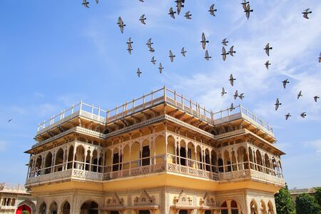 rajput: Mubarak Mahal in Jaipur City Palace, Rajasthan, India. Palace was the seat of the Maharaja of Jaipur, the head of the Kachwaha Rajput clan.