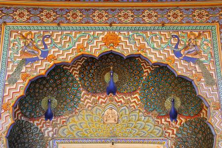 maharaja: Close up of Peacock Gate in Pitam Niwas Chowk, Jaipur City Palace, Rajasthan, India. Palace was the seat of the Maharaja of Jaipur, the head of the Kachwaha Rajput clan.