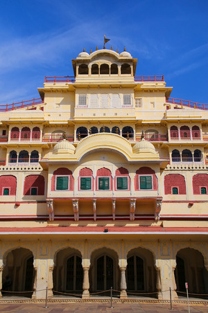 rajput: Chandra Mahal seen from Pitam Niwas Chowk, Jaipur City Palace, Rajasthan, India. Palace was the seat of the Maharaja of Jaipur, the head of the Kachwaha Rajput clan.