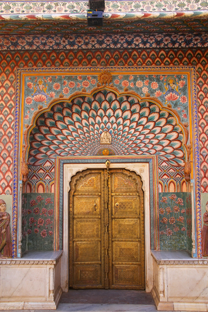 maharaja: Lotus Gate in Pitam Niwas Chowk, Jaipur City Palace, Rajasthan, India. Palace was the seat of the Maharaja of Jaipur, the head of the Kachwaha Rajput clan. Editorial