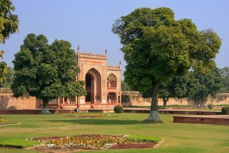 uttar pradesh: Entrance Gate of Itimad-ud-Daulah Mausoleum in Agra, Uttar Pradesh, India. This Tomb is often regarded as a draft of the Taj Mahal. Stock Photo