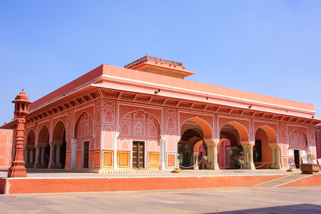 private i: Diwan-i-Khas - Hall of Private Audience in Jaipur City Palace, Rajasthan, India. Palace was the seat of the Maharaja of Jaipur, the head of the Kachwaha Rajput clan. Editorial
