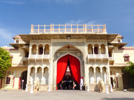 rajput: Rajendra Pol in Jaipur City Palace, Rajasthan, India. Palace was the seat of the Maharaja of Jaipur, the head of the Kachwaha Rajput clan. Editorial