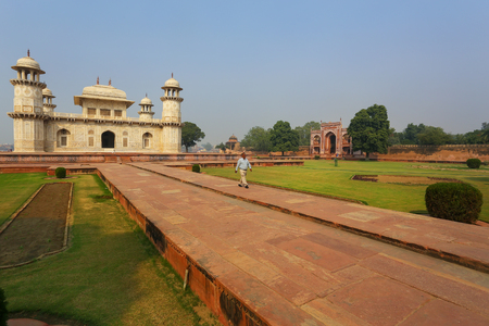 uttar pradesh: Tomb of Itimad-ud-Daulah in Agra, Uttar Pradesh, India. This Tomb is often regarded as a draft of the Taj Mahal.