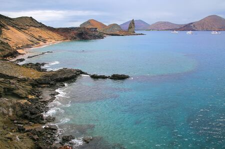 bartolome: Coastline of Bartolome island in Galapagos National Park, Ecuador. This island offers some of the most beautiful landscapes in the archipelago.