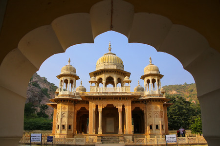 designated: Framed view of  Royal cenotaphs in Jaipur, Rajasthan, India. They were designated as the royal cremation grounds of the mighty Kachhawa dynasty. Editorial