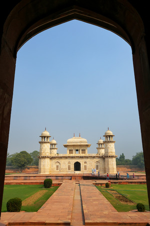 uttar pradesh: Framed view of  Itimad-ud-Daulah Mausoleum in Agra, Uttar Pradesh, India. This Tomb is often regarded as a draft of the Taj Mahal. Stock Photo