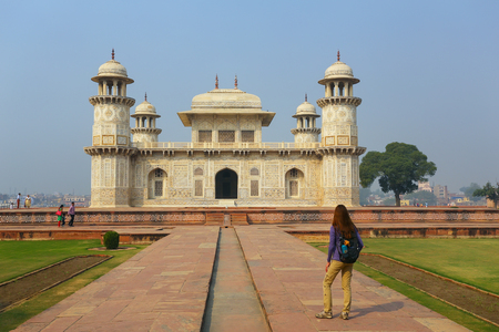 uttar: Tomb of Itimad-ud-Daulah in Agra, Uttar Pradesh, India. This Tomb is often regarded as a draft of the Taj Mahal.