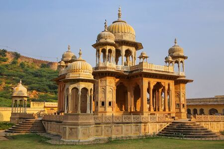 designated: Royal cenotaphs in Jaipur, Rajasthan, India. They were designated as the royal cremation grounds of the mighty Kachhawa dynasty. Stock Photo