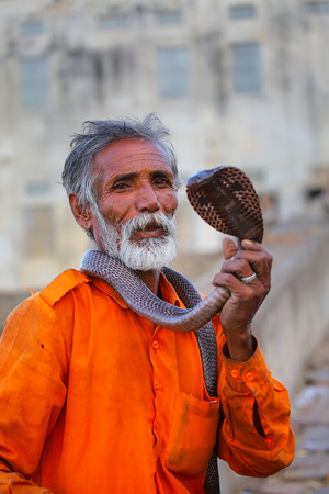 spectacled: Local snake charmer holding Indian cobra in the street of Jaipur, India. Jaipur is the capital and largest city of the Indian state of Rajasthan.