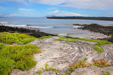 chinese hat: Rocky coast of Chinese Hat island in Galapagos National Park, Ecuador.