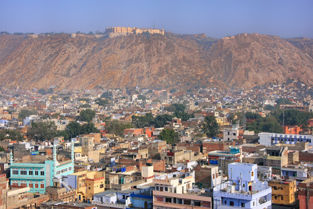 mughal: View of Nahargarh Fort and Jaipur city below in Rajasthan, India. The fort was constructed as a place of retreat on the summit of the ridge above the city.
