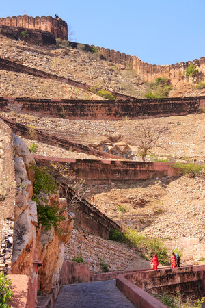 switchback: Winding road leading to Nahargarh Fort in Jaipur, Rajasthan, India. The fort was constructed as a place of retreat on the summit of the ridge above the city. Stock Photo