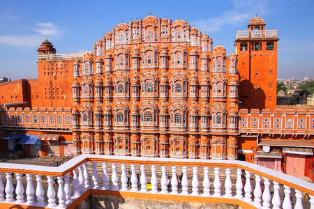 Hawa Mahal - Palace of the Winds in Jaipur, Rajasthan, India. It was designed by Lal Chand Ustad in the form of the crown of Krishna, the Hindu god.