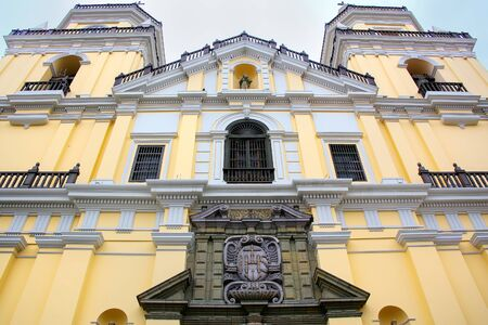saint peter: Facade of Saint Peter Church in Lima, Peru. This church is part of the Historic Centre of Lima, which was added to the UNESCO World Heritage List in 1991.