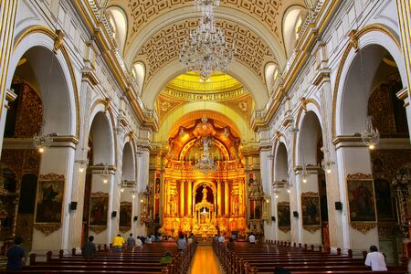 saint peter: Interior of Saint Peter Church in Lima, Peru. This church is part of the Historic Centre of Lima, which was added to the UNESCO World Heritage List in 1991. Editorial