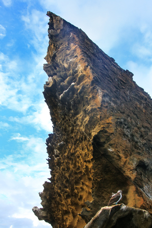 bartolome: Pinnacle Rock of Bartolome island seen from below, Galapagos National Park, Ecuador.