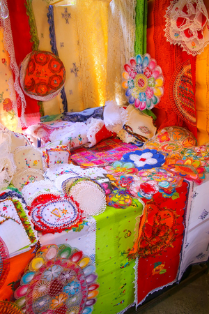 Display of nanduti at the street market in Asuncion, Paraguay. Nanduti is a traditional Paraguayan embroidered lace, introduced by the Spaniards