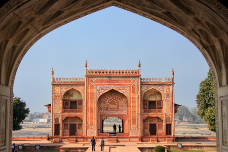uttar pradesh: Entrance gate seen from interior of Itimad-ud-Daulah Mausoleum in Agra, Uttar Pradesh, India. This Tomb is often regarded as a draft of the Taj Mahal.