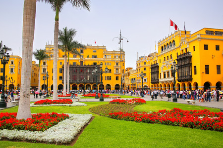 Plaza Mayor in Historic Center of Lima, Peru. It is surrounded by the Government Palace, Cathedral, Archbishop's Palace, Municipal Palace, and Palace of the Union.