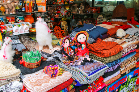 Display of traditional souvenirs at the market in Lima, Peru. Lima is the capital and the largest city of Peru.