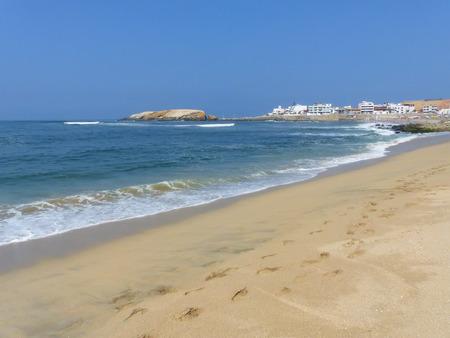 hermosa beach: Sandy beach of Punta Hermosa in Peru. Punta Hermosa is a popular beach town not far from Lima. Stock Photo